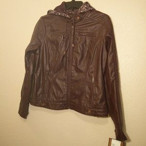 JouJou Burgundy Vegan Leather Jacket NWT - Large